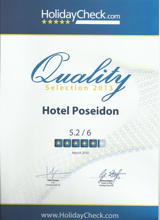 HolidayCheck Quality Selection 2013 Award - Hotel Poseidon Amoudara