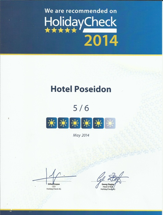 HolidayCheck Quality Selection 2014 Award - Hotel Poseidon Amoudara