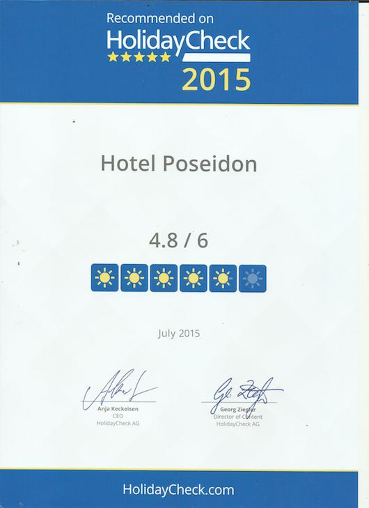 HolidayCheck Quality Selection 2015 Award - Hotel Poseidon Amoudara