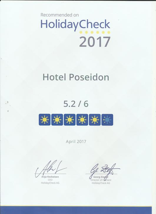 HolidayCheck Quality Selection 2017 Award - Hotel Poseidon Amoudara